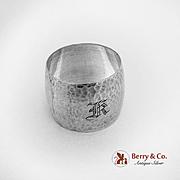 Hammered Barrel Shape Napkin Ring Sterling Silver Monogram K