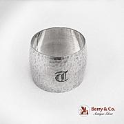 Hammered Barrel Shape Napkin Ring Sterling Silver Monogram T