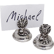 Pair of Clam Shell Form Place Card Holders Sterling Silver