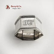 Hexagonal Beaded Napkin Ring Coin Silver 1910