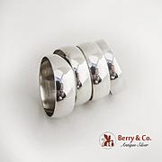 Set of 4 Napkin Rings Sterling Silver Gorham Silversmiths 1950