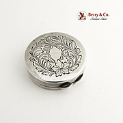 Round Pill Box Sterling Silver Engraved Floral and Scroll Decorations