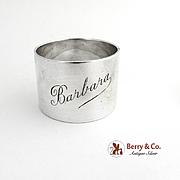 Napkin Ring Sterling Silver Monogram Barbara Birmingham 1933