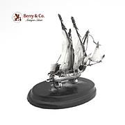 Sterling Silver Ship Model Desk Figurine 1900