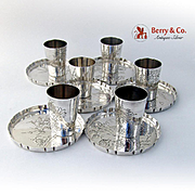 Vintage Japanese Set of 6 Shot Cups and Plates Sterling Silver Floral Engraved 1930s