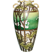 Antique Nippon Vase Hand Painted Moriage Swans Tall Double Branch Handles