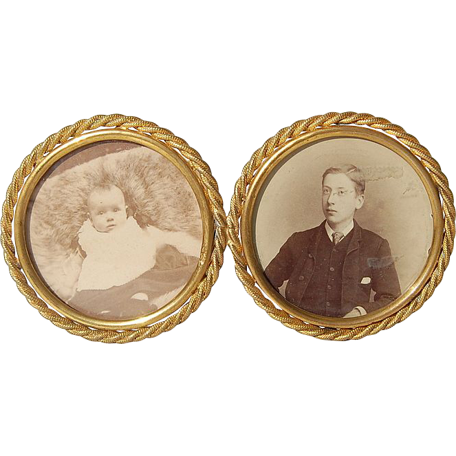 1880's Double Brass Picture Photo Frame