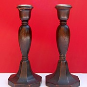 SOLD Great Pair Vintage Wooden Candlesticks.