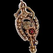 REDUCED Rare Antique Victorian Equestrian 14K Gold Brooch