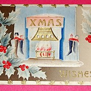 Embossed 1910 Xmas Wishes