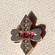 Large Victorian 10K Gold Seed Pearl Faux Ruby Slide