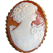 Vintage Hand Carved Shell Gold Filled Cameo Brooch