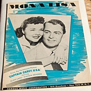"REDUCED 1959 Sheet Music ""Mona Lisa"" From ""Captain Carey, U.S.A."""