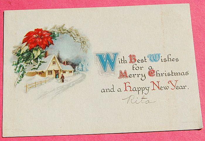 Art Deco Christmas New Years Card
