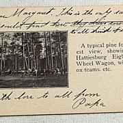 REDUCED 1906 Postcard Hattiesburg Mississippi Eight Wheel Wagon