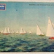 REDUCED Vintage Lake Ponchartrain Star Sloop Races New Orleans Postcard