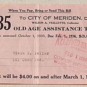 1935 Old Age Assistance Tax Receipt $3.00