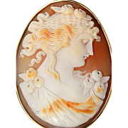 REDUCED Victorian 14K Gold Shell Cameo Brooch/Pendant