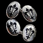 Vintage Sterling Silver Fleur d Lis Enamel Cuff Links