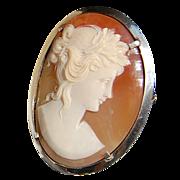 Vintage 800 Silver Shell Cameo Brooch/Pendant
