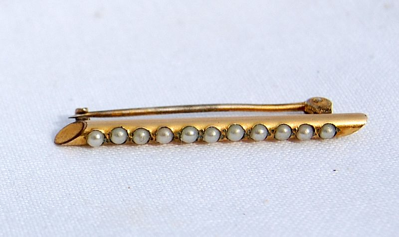 Victorian Gold Filled Pearl Pin
