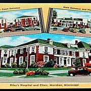 Vintage Postcard Riley's Hospital & Clinic Meridian Mississippi