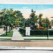 Vintage Postcard Fifth Avenue South From 7th Street Laurel Mississippi