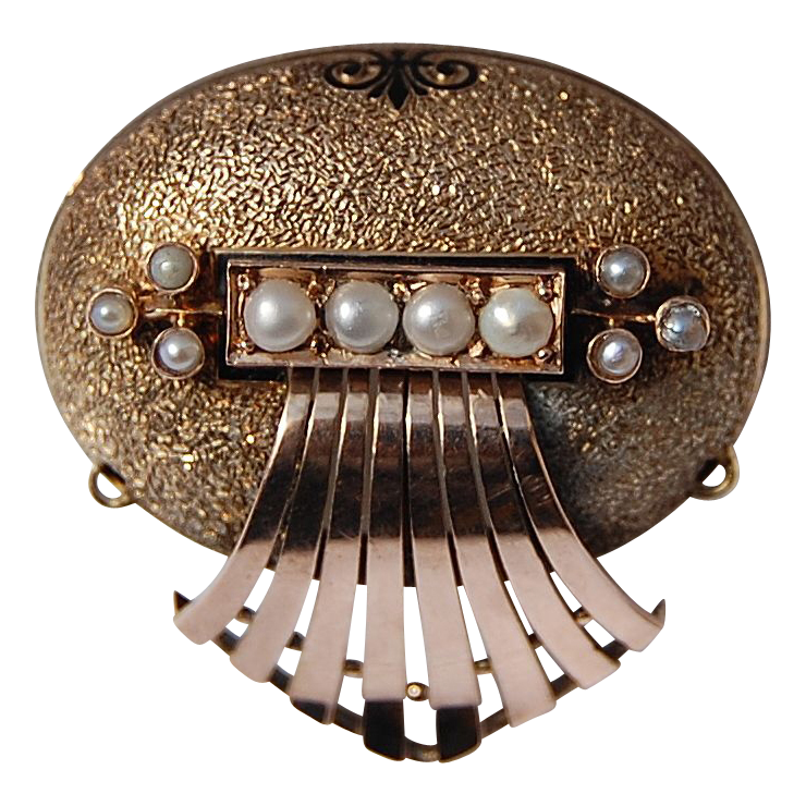 Fabulous Large Victorian 14K Gold Pearl Brooch/Watch Pin 1869