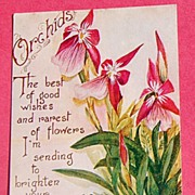 SOLD 1910 Birthday Post Card Orchids-G. K. Price