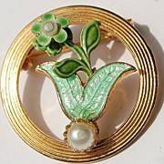 Vintage Circle Enamel Faux Pearl Brooch