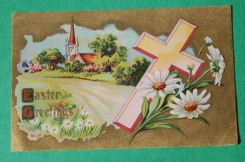 Embossed Easter Greetings Post Card