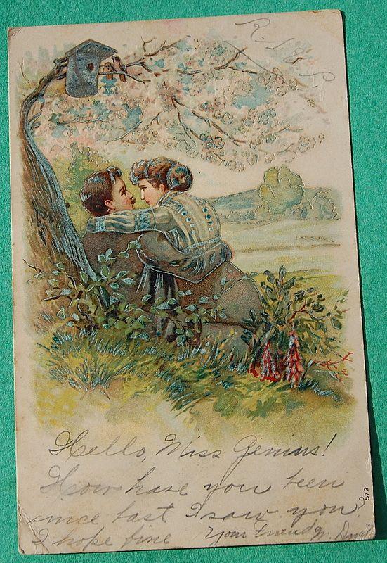 1908 German Embossed Romantic Postcard