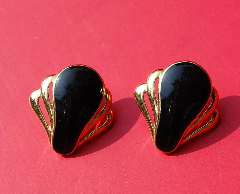 Vintage Black Enamel Monet Clip Earrings