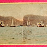 SALE 1865 Beauties Of The Hudson #4130 The Steamer Mary Powell Stereophotography Stereoview