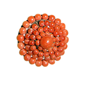 REDUCED Antique Victorian Sterling Silver Genuine Coral Brooch