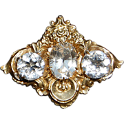 REDUCED Early Victorian Silver Gilt Paste Brooch