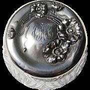 REDUCED Unger Jonquil Sterling Silver Cut Crystal Dresser Jar