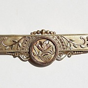 REDUCED Large Victorian Gold Filled Brooch Bird Motif