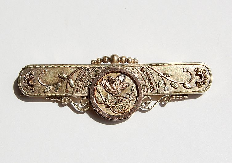 Large Victorian Gold Filled Brooch Bird Motif