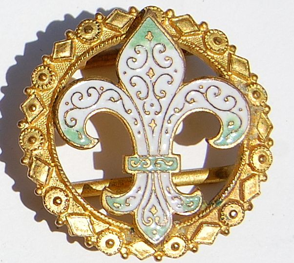Wonderful Vintage Fleur D Lis Enameled Belt Buckle