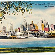 Vintage Postcard Skyline Of New Orleans From The Harbor
