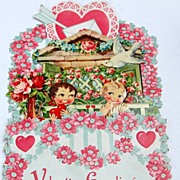 SALE Large German Early Valentine Fold Out 3-D Die-Cut Valentine Card