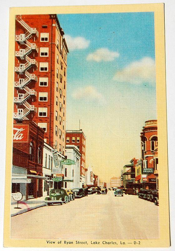 Vintage Postcard Ryan Street Lake Charles Louisiana