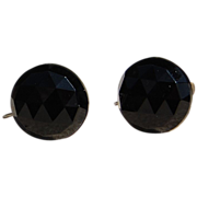 Vintage Classic Faceted Black Glass Screw Back Earrings