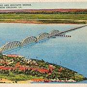 Vintage Postcard Fort Pike & Rigolets Bridge New Orleans