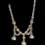 REDUCED Vintage Gold Tone Crystal Bib Necklace