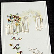 Vintage Embossed Best Wishes Postcard