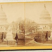 SALE Bell & Bros. 1871 Stereophotography Stereoview Statue of Washington & The U. S. Capitol
