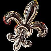 Vintage 10K Gold Puffy Beaded Fleur D Lis Watch Pin Brooch