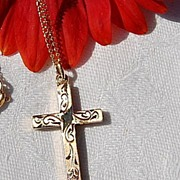 "Vintage Dainty 12KGF Cross & 18"" Chain"